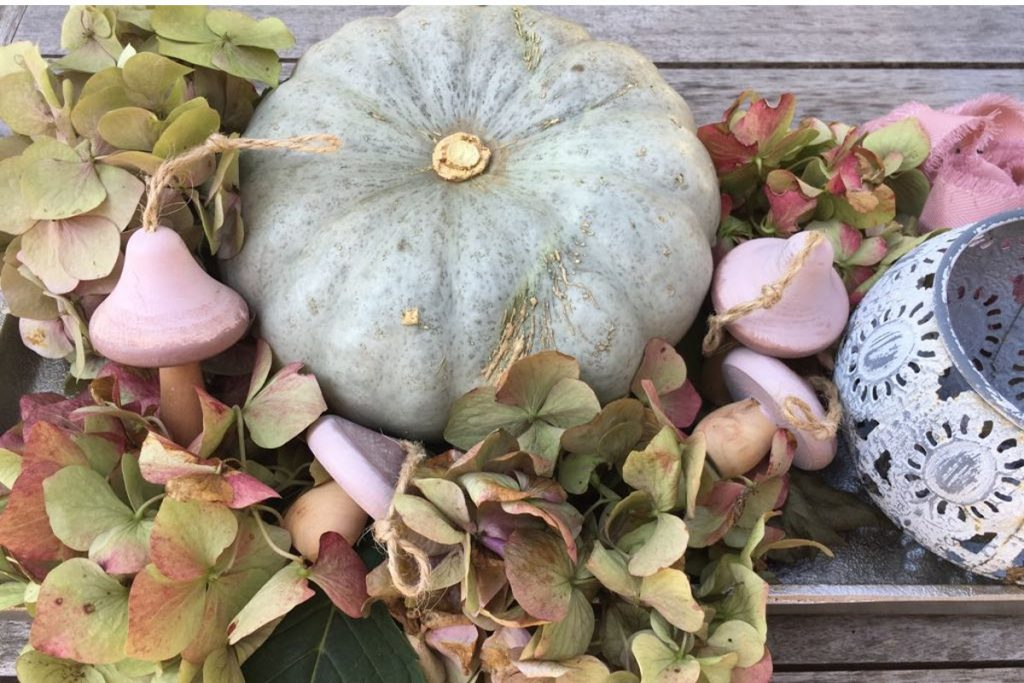 Kürbis, Dekoration, moderne Kürbisdeko, Deko, Herbst, Hortensien, Marbelle