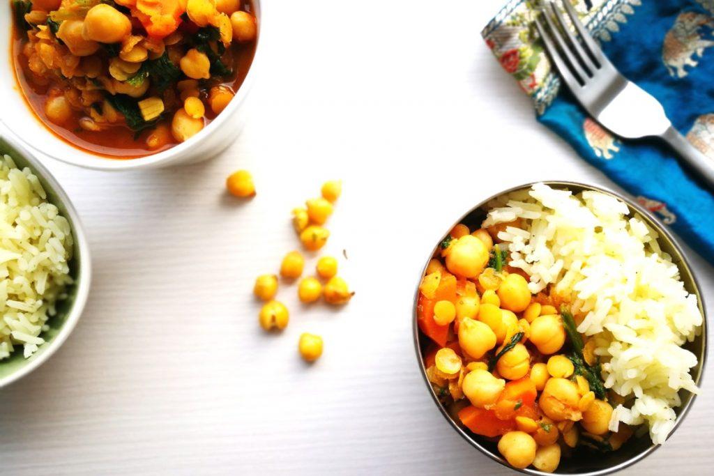 vegetarisch kochen, Kichererbsen, Spinat, Dal, orientalisch, Linsen, Mittagessen, Abendessen, was koche ich heute
