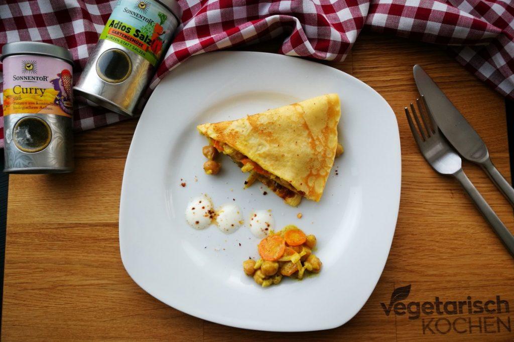 vegetarisch kochen, vegetarisch-kochen, vegetarisch, vegetarisch essen, vegetarische Rezepte, was koche ich heute, Sonnentor, Adios Salz, Curry, Kichererbsen, Palatschinken, Kinder essen, für Kinder kochen, Mittagessen